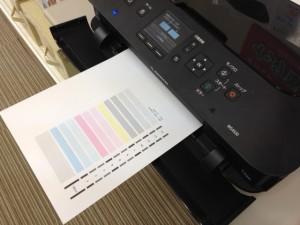 ⑤ノズルチェックパターン印刷結果が出てきます